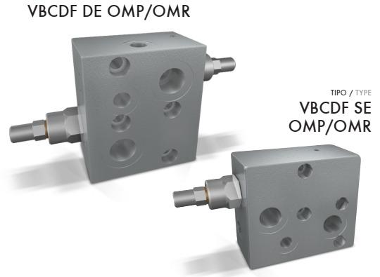 Тормозной клапан фланцевого монтажа на мотор типа OMP/OMR с разблокировкой тормоза и без тип VBCDF DE(SE) OMP/OMR